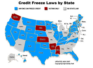 Credit Freeze Laws by state